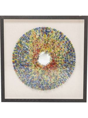 Kare Design Colour Explosion Wanddecoratie - 120 x 9 x 120 cm - Zwarte Lijst