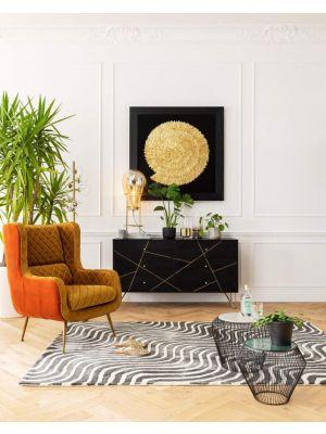 Kare Design Gold Vein Dressoir - B145 x D45 x H82 cm - Zwart Mangohout - Messing Poten