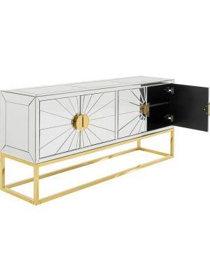 Kare Design Queen Dressoir - B162 x D40 x H77 cm - Spiegelglas - Messing Onderstel