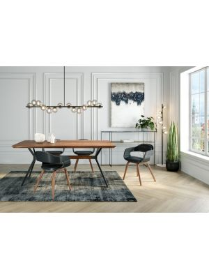 Kare Design Downtown Eettafel - L220 x B100 x H76 cm - Walnoot Tafelblad
