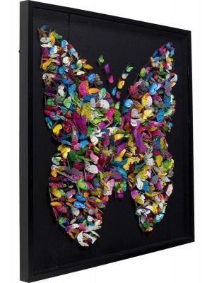 Kare Design Farfalla Wanddecoratie - B120 x D6 x H120 cm - Zwarte Lijst