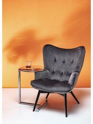 Kare Design Vicky Velvet Fauteuil - Fluweel Grijs - Zwarte Houten Poten