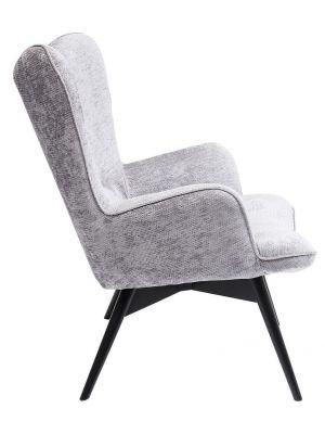 Kare Design Vicky Wilson Fauteuil - Stof Zilvergrijs - Zwarte Houten Poten