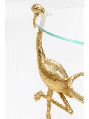 Kare Design Flamingo Bijzettafel - Ø40,5x58,5 cm - Glazen tafelblad - Goud Onderstel