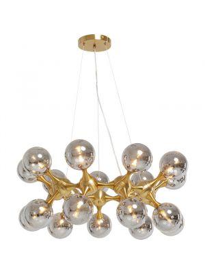 Kare Design Atomic Balls Hanglamp 12 Lichts - Messing met Rookglas
