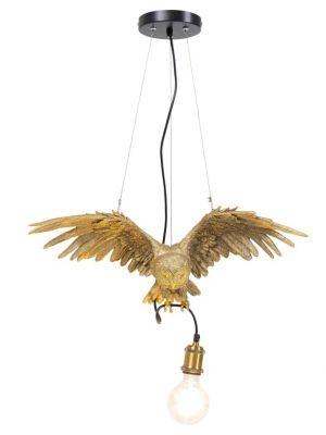 Kare Design Hanglamp Owl 1-Lichts - B57 x D14 x H28 - Goudkleurig