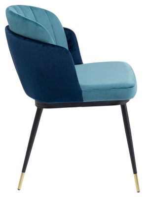 Kare Design Hojas Velvet Stoel - Set van 2 - Blauw Fluweel