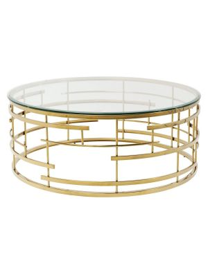 Kare Design Jupiter Ronde Salontafel Ø100cm - Glazen tafelblad - Goudkleurig Metaal