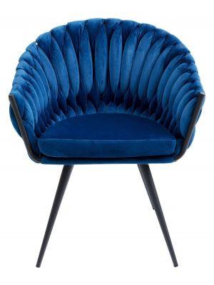 Kare Design Knot Stoel met Armleuningen - Set van 2 - Fluweel Blauw