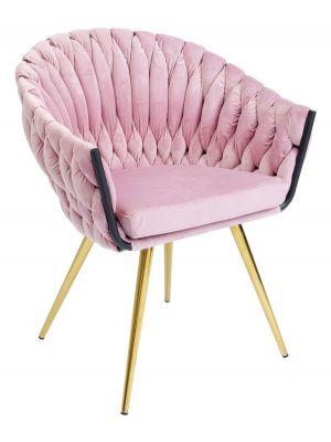 Kare Design Knot Stoel met Armleuningen - Set van 2 - Fluweel Roze