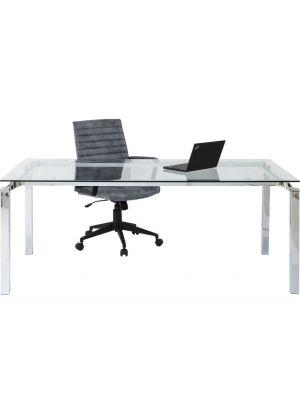 Kare Design Lorenco Bureau - L180 x B90 x H72 cm - Glazen Bureaublad en Chromen Onderstel