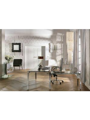 Kare Design Lorenco Hoekbureau - B210 x D180 x H72 cm - Glazen Bureaublad en Chroom