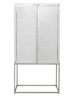 Kare Design Luxury Barkast - B89xD47xH181 cm - Spiegelglas - RVS Onderstel