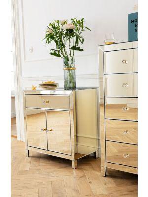Kare Design Luxury Opbergkast 2-Deuren/1-Lade - B71xD41xH76 cm - Spiegelglas Champagne