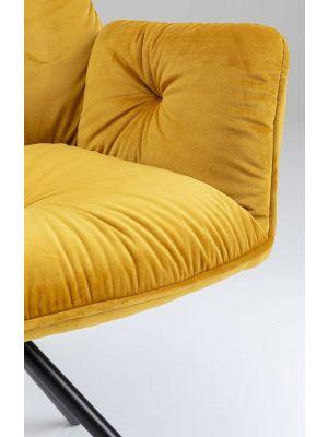 Kare Design Mila Stoel Armleuningen - Geel Fluweel - Zwart Metalen Poten