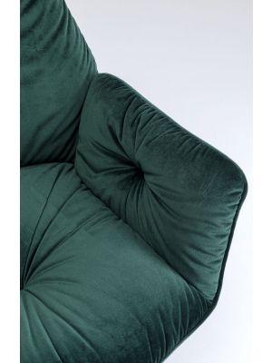 Kare Design Mila Stoel Armleuningen - Groen Fluweel - Zwart Metalen Poten