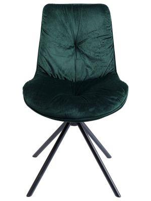 Kare Design Mila Stoel - Set van 2 - Groen Fluweel - Zwart Metalen Poten