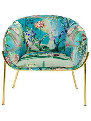 Kare Design Paradise Fauteuil - Bloemenprint - B76 x D69 x H73 cm - Goudkleurige Poten