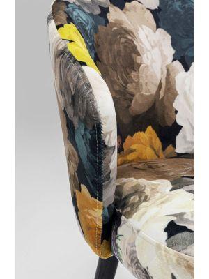 Kare Design Peony Stoel - Bloemenprint Geel - Zwarte Poten