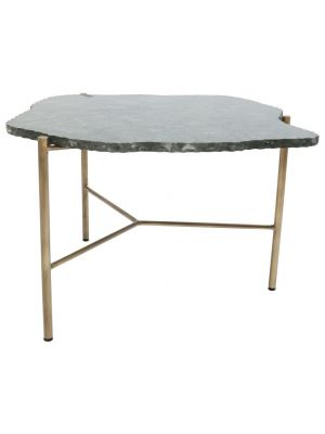 Kare Design Piedra Salontafel - 76x72x43cm - Groen Marmeren Tafelblad - Goud Onderstel