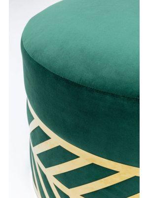 Kare Design Jenna Velvet Poef - B60,5 x H41 cm - Donkergroen Fluweel