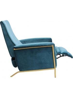 Kare Design Lazy Velvet Relaxfauteuil - Blauw Fluweel - Messing Frame