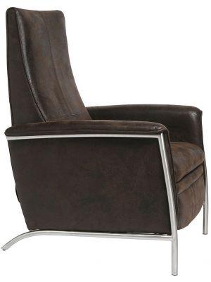 Kare Design Lazy Relaxfauteuil - Bruin Vintage Kunstleer - RVS Frame