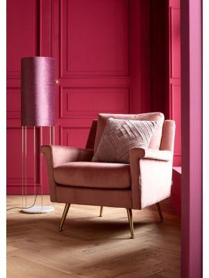 Kare Design San Diego Velvet Fauteuil - Roze Fluweel - Gouden Poten