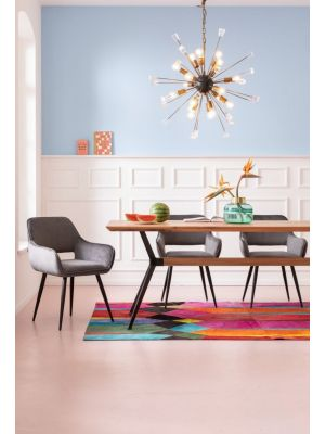 Kare Design San Francisco Stoel - Set van 2 - Fluweel Grijs - Zwarte Poten