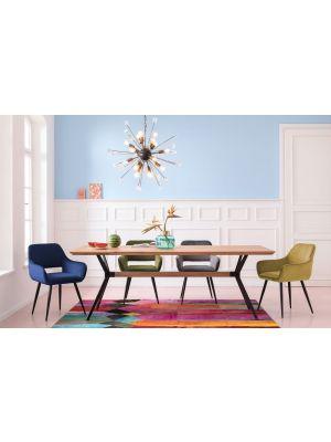 Kare Design San Francisco Stoel - Set van 2 - Fluweel Blauw - Zwarte Poten