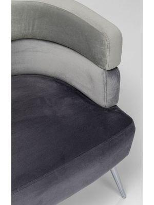 Kare Design Sandwich Bank - B125xD64xH64 - Velvet Grijs - Zilveren Poten