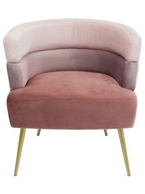 Kare Design Sandwich Fauteuil - B65xD64xH74 - Velvet Roze - Gouden Poten