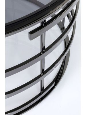 Kare Design Saturn Ronde Salontafel Ø80cm - Glazen tafelblad - Zwart Metaal