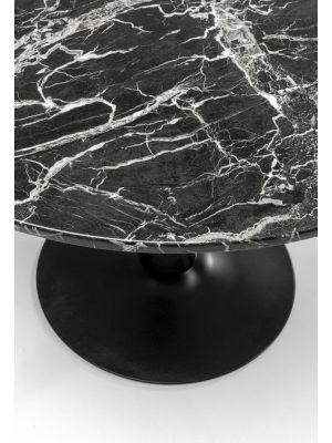 Kare Design Schickeria Ronde Eettafel - D110 x H72 cm - Zwart Marmerlook