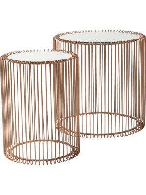 Kare Design Wire Bijzettafel Hoog - Set van 2 - Koper met Glazen Tafelblad