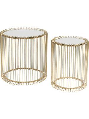 Kare Design Wire Bijzettafel Hoog - Set van 2 - Messing met Glazen Tafelblad