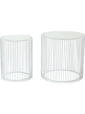 Kare Design Wire Bijzettafel - Set van 2 - Wit met Glazen Tafelblad
