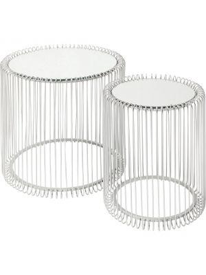 Kare Design Wire Bijzettafel Hoog - Set van 2 - Zilver met Glazen Tafelblad