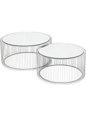 Kare Design - Wire Salontafel - Set van 2 - Zilver met Glazen Tafelblad