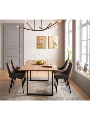 Kare Design East Side Velvet Stoel - Set van 2 - Fluweel Bruin - Zwart Metalen Poten