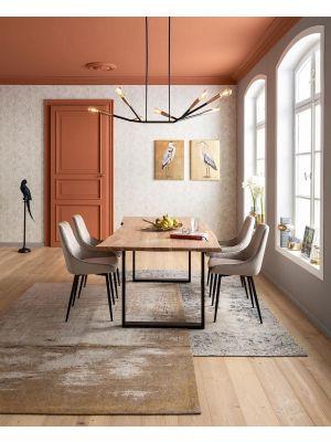 Kare Design East Side Velvet Stoel - Set van 2 - Fluweel Grijs - Zwart Metalen Poten