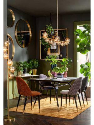Kare Design Hudson Stoel - Set van 2 - Stof Beige - Zwarte Metalen Poten