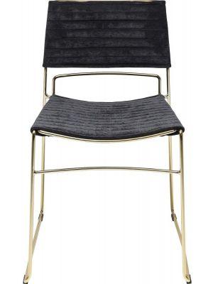 Kare Design Hugo Stoel - Set van 2 - Stof Zwart - Messing Sledeframe