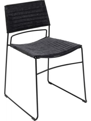 Kare Design Hugo Stoel - Set van 2 - Stof Zwart - Zwart Metalen Sledeframe