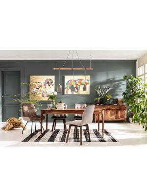 Kare Design Moritz Stoel - Set van 2 - Zilvergrijs Fluweel - Bruine Houten Poten