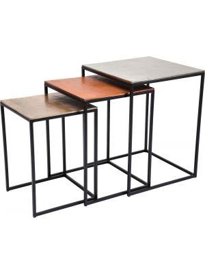 Kare Design Loft Square Vintage - Set van 3 Bijzettafels - Multikleur
