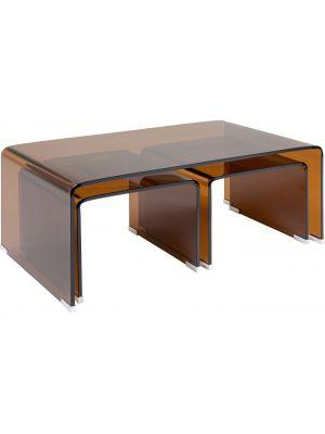 Kare Design Visible Amber Salontafel - Set van 3 - B90 x D50 x H36 cm - Glas