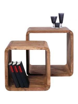 Kare Design Authentico Cube Square - Set van 2 Bijzettafels - Sheesham Hout - Bruin