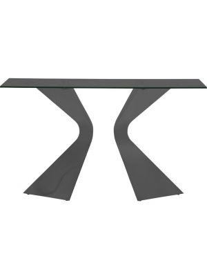 Kare Design Gloria Sidetable Zwart - B140 x D45 x H81 cm - Zwart Glazen Tafelblad