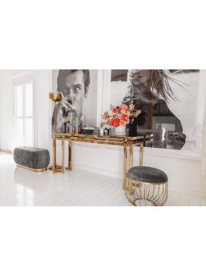 Kare Design Gold Rush Sidetable - 160 x 45 x 76 cm - Glazen Tafelblad - Goudkleurig Onderstel